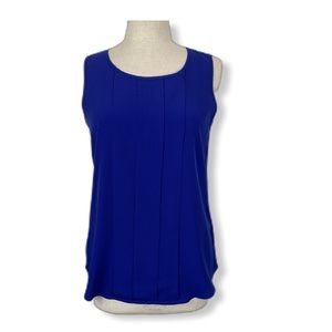 Spense Sleeveless Royal Blue Pleat Blouse, Size M
